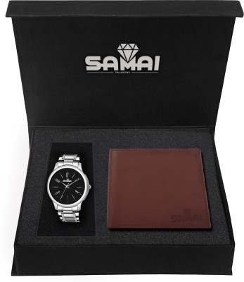 Samai Fashions Wallet, Analog Watch Combo(Black, Brown)