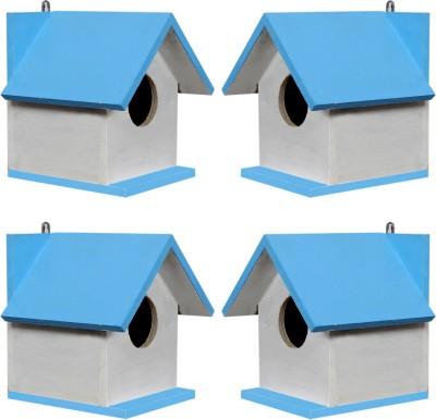 paxidaya WOODEN BIRD HOUSE 04 PIECE. Bird House(Hanging, Wall Mounting, Tree Mounting)