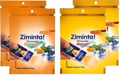 Ziminta Orange and Mango Flavoured Mouth Freshener Easily Soluble Digestive Dispensable Strip (Pack of 4) - Each Pack Contain 30 Strip(40 g)