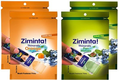 Ziminta Pan Masala and Orange Flavoured Mouth Freshener Easily Soluble Digestive Dispensable Strip (Pack of 4) - Each Pack contain 30 Strip(40 g)
