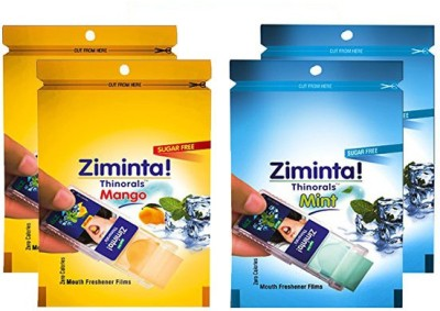 Ziminta Mango and Mint Flavoured Mouth Freshener Easily Soluble Digestive Dispensable Strip (Pack of 4) - Each Pack contain 30 Strip(40 g)