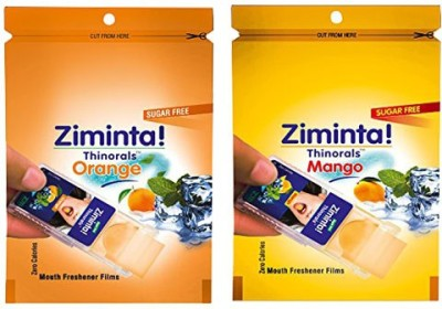 Ziminta Orange and Mango Flavoured Mouth Freshener Easily Soluble Digestive Dispensable Strips (Pack of 2) - Each pack contain 30 Strip(20 g)