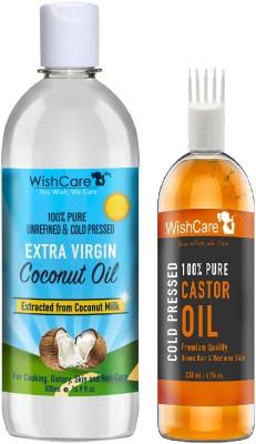 WishCare Premium Cold Pressed Extra-Virgin Coconut Oil (500 Ml) & Castor Oil (200 Ml)(700 ml)