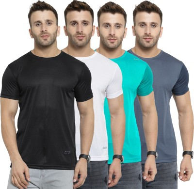 AWG Solid Men Round Neck Multicolor T-Shirt(Pack of 4)