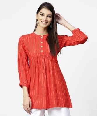 Libas Casual Striped Women Kurti(Red)