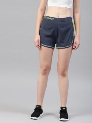 HRX by Hrithik Roshan Solid Women Blue Sports Shorts at flipkart