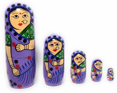 Craft Hand WOODEN NESTING DOLL(LADY IN PURPLE SAREE)(Purple)
