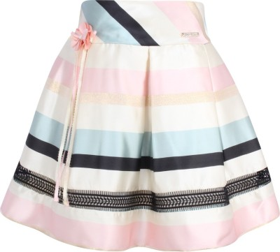 Cutecumber Striped Girls A line Blue Skirt Cutecumber Kids' Skirts