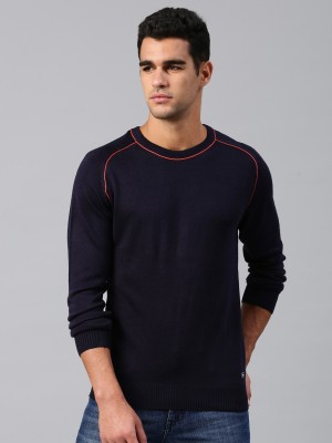 HRX by Hrithik Roshan Solid Round Neck Casual Men Blue Sweater at flipkart