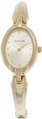 Sonata ND8048YM02 Analog Gold Dial Women's Watch (ND8048YM02)