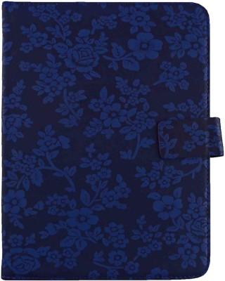 Emartbuy Wallet Case Cover for Binatone Homesurf 844(Blue Vintage Floral)