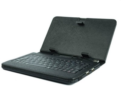 TechGear Universal 7Inch Tablet Keyboard with PU Lather Case Cover Mini Micro USB Keyboard For Tablets PC, Black Wired USB Tablet Keyboard(Black)