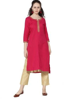 Morpankh Women Solid Straight Kurta(Pink)