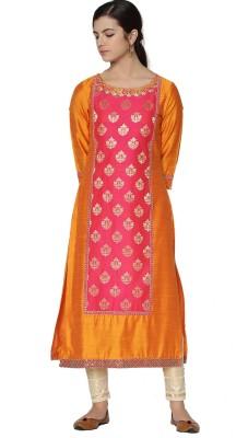 Morpankh Women Embellished Straight Kurta(Multicolor)