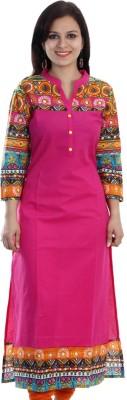 FabTag  - The Style Story Women Colorblock Straight Kurta(Pink, Black)