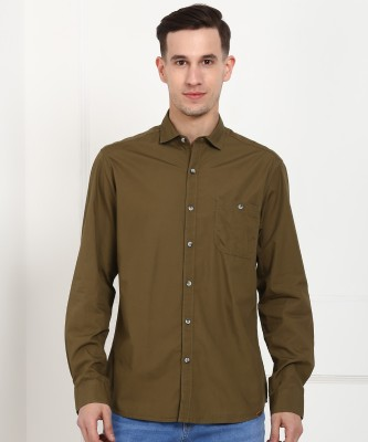 John Players Men Solid Casual Green Shirt