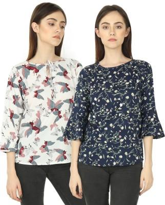 VSkin Casual Regular Sleeve, Bell Sleeve Printed Women Multicolor Top