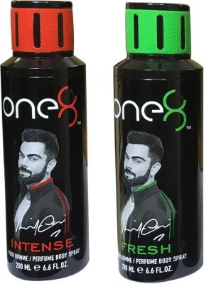 one 8 Fresh & Intense (Pack of 2) Perfume Body Spray - For Men & Women(400 ml, Pack of 2)