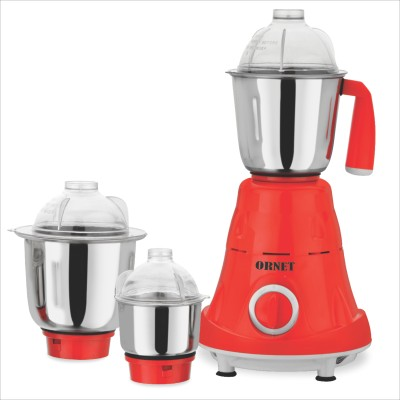 ORNET NON METTALIC VOLVO 220 Mixer Grinder(Red, 3 Jars)