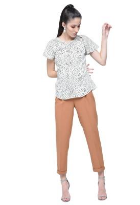 Naisha Casual Flared Sleeve Printed Women White, Black Top