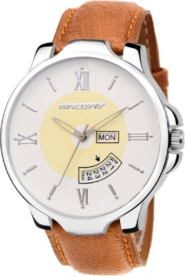 Grozav White Analog Day & Date Dial with Light Brown Leather Strap Analog Watch  - For Men