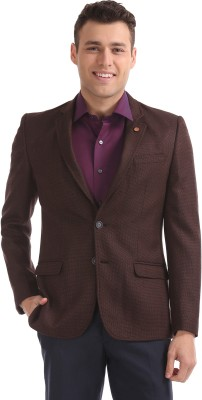 Arrow Solid Single Breasted Formal Men Blazer(Brown) at flipkart
