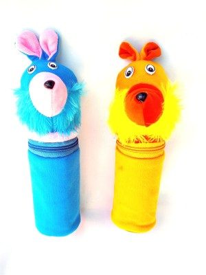 MOM AND SON Kids Fabric Baby Feeding Bottle Covers with Attractive Cartoon, 240ml(Blue, Yellow)