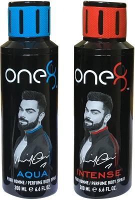 one 8 Aqua & Intense (Pack of 2) Perfume Body Spray - For Men & Women(400 ml, Pack of 2)