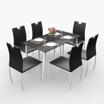 Forzza Alberta Glass 6 Seater Dining Table