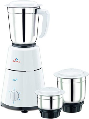 Bajaj GX 500-Watt Mixer Grinder with 3 Jars 500 Mixer Grinder(White, 3 Jars)