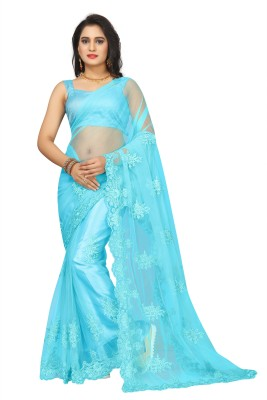 Availkart Self Design, Embroidered Fashion Net Saree(Light Blue)