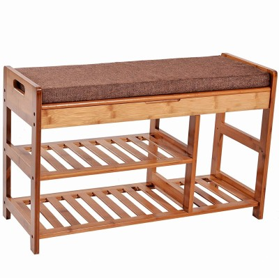 Urbancart Bamboo Shoe Stand with Storage Entryway Shoe Storage Organizer for Home & Office Solid Wood Shoe Rack(Brown, 2 Shelves)