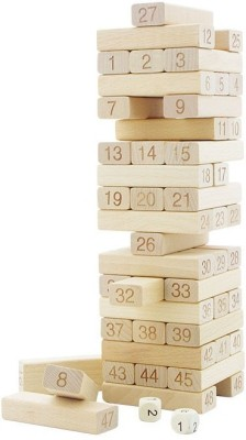 TOYGALAXY 54 PIECES JENGA BLOCK S FOR PARTY(Brown)