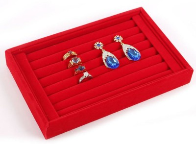 SYGA Portable Small Ring Display Plate_Red Jewellery Vanity Box(Red)