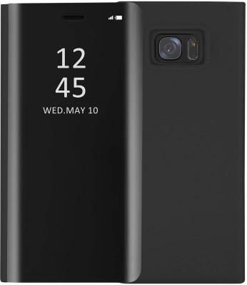 Novo Style Flip Cover for Samsung Galaxy M10 Luxury Mirror View Stand Flip(Black)