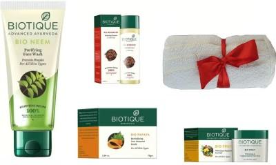 BIOTIQUE BIO Neem Purifying Face Wash, Fruit Whitening & Depigmentation Face Pack, Papaya Revitalizing Tan-Removal Scrub, Bio Berberry Hydrating Cleanser , face towel(Set of 5)