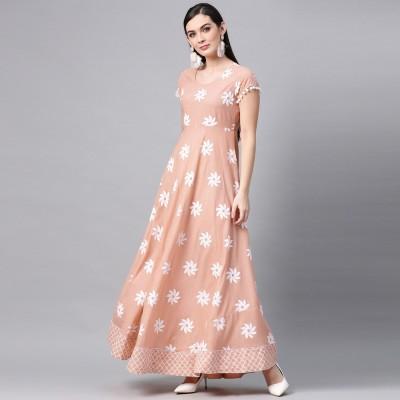 Aks Women Maxi Pink, White Dress