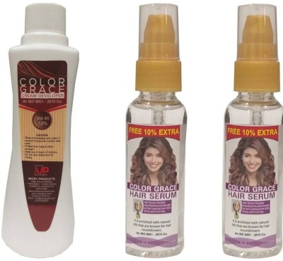 COLORGRACE HAIR COLOR CREAM DEVELOPER FOR MEN & WOMEN VOL 40 12% Hair Color(400 ml) 2 hair serum 50 ml (pack of 3 ) (FOR ALL HAIR COLOR) Hair Color(all hair color)
