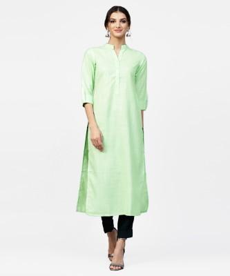 Libas Women Self Design Straight Kurta(Green)