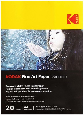 Kodak Fine Art Paper Smooth A4 (210X297mm) Photo Paper 230 GSM 20 Sheets Unruled A4 Inkjet Paper(Set of 1, White)