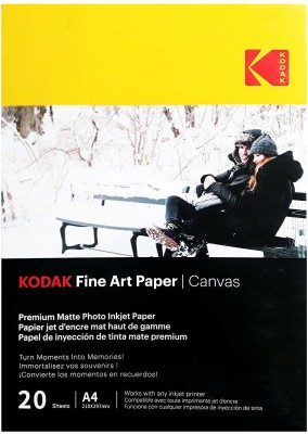 Kodak Fine Art Paper Canvas A4 (210X297mm) Photo Paper 230 GSM 20 Sheets Unruled A4 Inkjet Paper(Set of 1, White)