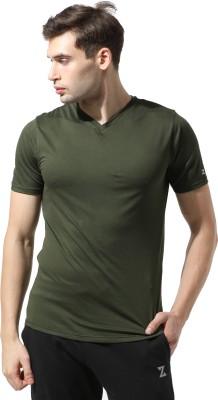 Azani Solid Men V Neck Green T-Shirt