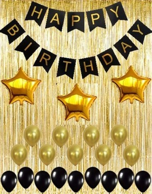 TRISHRA Solid Gold Metallic Fringe Shiny Curtains Black Happy Birthday Banner with Latex and Star Foil Balloons Decoration Kit Balloon(Gold, Black, Pack of 50)