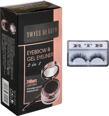 RTB Eyebrow and Gel Eyeliner 7 g (black) with false eyelash(Set of 2)
