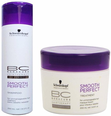 Schwarzkopf Professional BC Smooth Perfect Combo (Shampoo 250ml & Treatment 200ml)- For Unmanageable Hair(Set of 2)