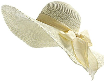 Futurekart Straw Large Brim Beach Floppy Oversize Fold Hat(White, Pack of 1)