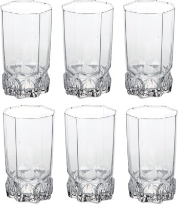 Somil Stylish Shape Self Designer Multipurpose Kamal Glass Set Of 6 Glass Set(Glass, 325 ml, Clear, Pack of 6)