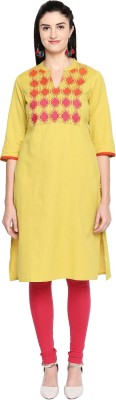 Rangmanch by Pantaloons Women Self Design Straight Kurta(Yellow)