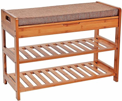 Urbancart Bamboo Shoe Rack with Storage Entryway Shoe Shelf Storage Organizer for Home & Office Solid Wood Shoe Stand(Brown, 2 Shelves)