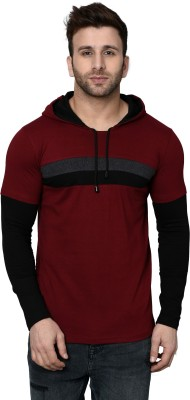 SHAPPHR Color block Men Hooded Maroon T-Shirt